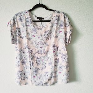Attention Cuffed Pink, White Floral, Stripes Sz. L